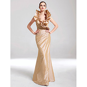 Mermaid / Trumpet V-neck Floor Length Taffeta Formal Evening Military Ball Dress with Side Draping Ruffles by TS Couture plus size,  plus size fashion plus size appare