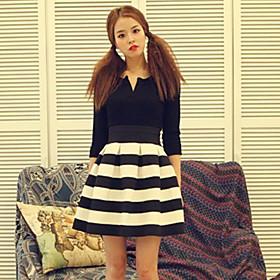 Women's Stripes Pleats Mini Skirt