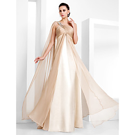 Sheath / Column One Shoulder Floor Length Chiffon Evening Dress with Beading by TS Couture plus size,  plus size fashion plus size appare