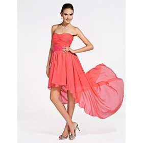A-Line Princess Strapless Sweetheart Short / Mini Asymmetrical Chiffon Bridesmaid Dress with Draping Criss Cross Ruching by LAN TING plus size,  plus size fashion plus size appare