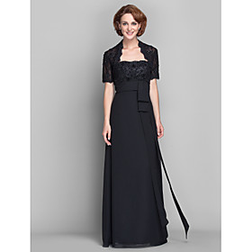 LAN TING BRIDE Sheath / Column Plus Size Petite Mother of the Bride Dress - Wrap Included Floor-length Short Sleeve Chiffon Lace with plus size,  plus size fashion plus size appare