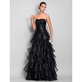 A-Line Sweetheart Floor Length Organza Prom / Formal Evening / Military Ball Dress with Ruched Cascading Ruffles by TS Couture plus size,  plus size fashion plus size appare