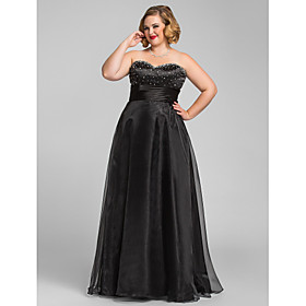 Plus Size A-line Princess Sweetheart Organza Evening/Prom Dress