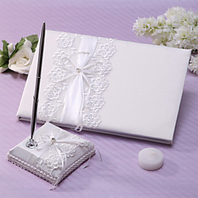 Guest Book Pen Set Lace Garden Theme With Sash Rhinestones Wedding Ceremony