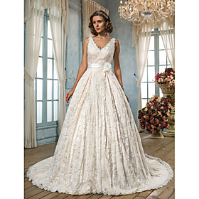 Lanting Bride A-line Petite / Plus Sizes Wedding Dress - Classic Timeless / Glamorous Dramatic Vintage Inspired Court Train V-neck plus size,  plus size fashion plus size appare