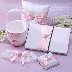 Classic Wedding Collection Set In Pink Satin (5 Pieces) Coral Wedding