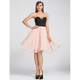 TS Couture Cocktail Party Homecoming Wedding Party Dress - Short A-line Sweetheart Knee-length Chiffon with Pleats plus size,  plus size fashion plus size appare