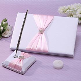 Chic Wedding Guest Book And Pen Set In Pink Satin With Sash And Rhinestones ..
