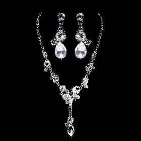 Skinnende Alloy Silver belagt med Clear Rhinestone Wedding Bridal Jewelry Set (Inkludert halskjede, ?redobber)
