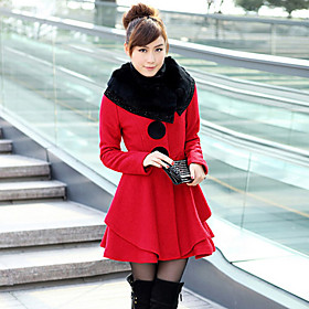 Women's Fur Collar Woolen Big Button Long Sleeve Outwear