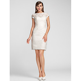 TS Couture Cocktail Party Homecoming Wedding Party Family Gathering Dress - Short Sheath / Column Jewel Scalloped Knee-length Lace with plus size,  plus size fashion plus size appare