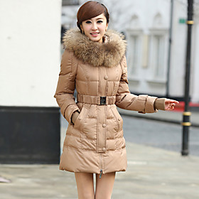 Women'S Winter Medium-Long Big Moveable Raccoon Fur Slim Down  Outwear