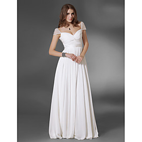 A-Line Princess V-neck Off-the-shoulder Floor Length Chiffon Evening Dress with Beading by TS Couture plus size,  plus size fashion plus size appare