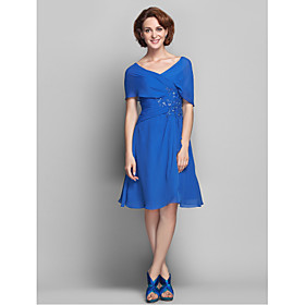 A-Line V-neck Knee Length Chiffon Mother of the Bride Dress with Beading Appliques Ruffles Criss Cross by LAN TING BRIDE plus size,  plus size fashion plus size appare