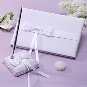 Ivory Wedding Guest Book og Pen Set Med bowknot