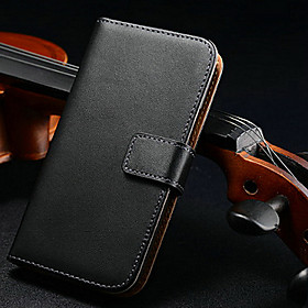 Genuine Leather Luxury Wallet with Stand and Card Slot for Samsung Galaxy S4 Mini I9190
