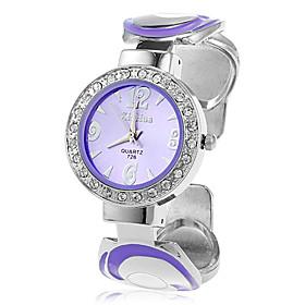 Unikke Kvinders Quartz Movement Med Rhinestone Analog Bracelet Watch (flere Farver)