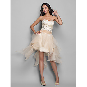 A-Line Princess Sweetheart Asymmetrical Organza Stretch Satin Homecoming Holiday Dress with Beading by TS Couture plus size,  plus size fashion plus size appare