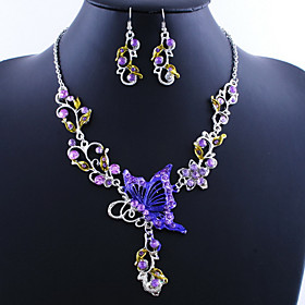 Women's Jewelry Set - Butterfly Vintage, European Include Drop Earrings Pendant Necklace Green / Blue / Pink For Party Special Occasion Birthday
