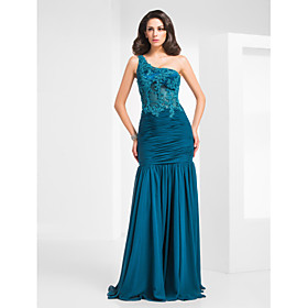Mermaid / Trumpet One Shoulder Floor Length Chiffon Tulle Evening Dress with Beading by TS Couture plus size,  plus size fashion plus size appare