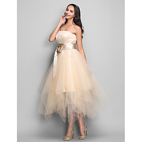 A-Line Strapless Tea Length Satin Tulle Holiday Dress with Bow(s) Draping by TS Couture plus size,  plus size fashion plus size appare