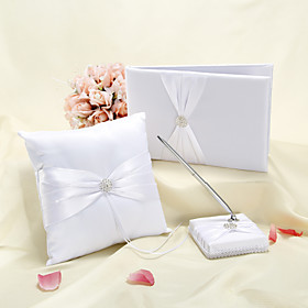 Elegant Wedding Collection Set in White Satin (3 stk)