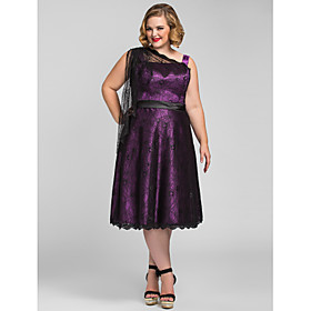 A-Line One Shoulder Tea Length Lace Stretch Satin Cocktail Party / Homecoming / Prom / Holiday Dress with Sash / Ribbon by TS Couture plus size,  plus size fashion plus size appare