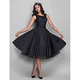 A-Line Princess Cowl Neck Knee Length Taffeta Cocktail Party / Homecoming Dress with Sash / Ribbon Crystal Brooch by TS Couture plus size,  plus size fashion plus size appare