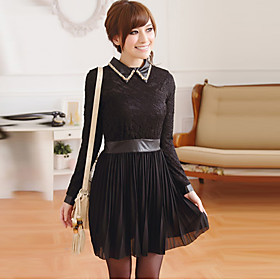 Women's Plus Size Point Collar Lace Embroidery Splicing Mini Dress
