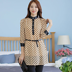 Women's Plus Size Polka Dots Mini Dress With Belt