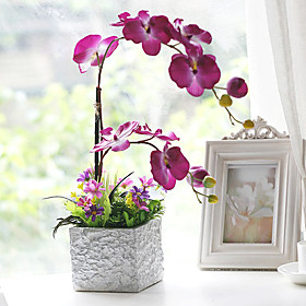 "17.75""Butterfly Orchid With Silver Color Square Vase"
