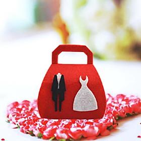 """""""Abito da sposa"""" Red non tessuto Wedding Candy Bag – Lotto di 12"""