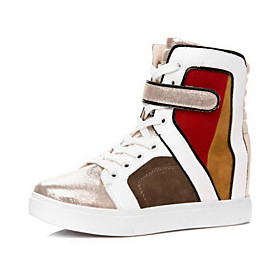 Faux Leather Wedge Heel Comfort Fashion Sneakers Casual Shoes(More Colors)