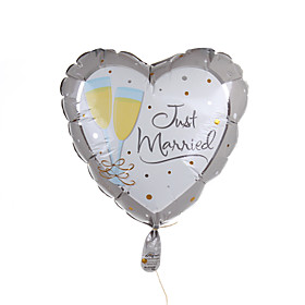 Wedding Décor Heart Metallic Balloon - Champagne Toasting Flutes 910106