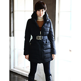 Women's Hoodie Down Coat With Belt