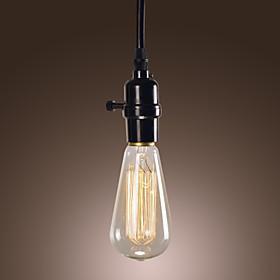 [Newyearsale] 40w минималистский подвесной светильник с черным проводом соткан
