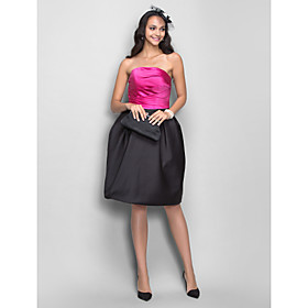 TS Couture Cocktail Dress - Short Plus Size / Petite A-line / Princess Strapless Knee-length Satin with Draping / Side Draping plus size,  plus size fashion plus size appare