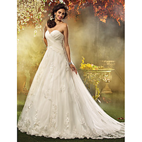 LAN TING BRIDE A-line Princess Wedding Dress - Classic Timeless Elegant Luxurious Vintage Inspired Court Train Sweetheart Tulle with plus size,  plus size fashion plus size appare