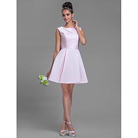 A-Line Bateau Neck Short / Mini Satin Bridesmaid Dress with Bow(s) by LAN TING BRIDE plus size,  plus size fashion plus size appare