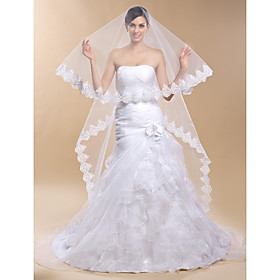 One-tier Cathedral Wedding Veil With Applique Edge(More Colors)