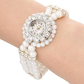 Damenuhr Blume Stil Fall Perlenband Armband Uhr