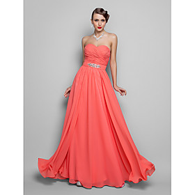 TS Couture Prom / Formal Evening / Military Ball Dress - Open Back Plus Size / Petite A-line / Princess Strapless / Sweetheart Floor-length Chiffon