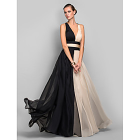 A-Line Princess Plunging Neckline Floor Length Chiffon Formal Evening / Military Ball Dress with Draping Ruched Split Front by TS Couture plus size,  plus size fashion plus size appare