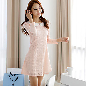Women's Plus Size Pan Collar Lace Embroidery Mini Dress