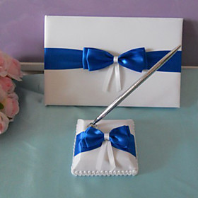 Elegant Wedding Guest Book og Pen Set Med Bl? Bow