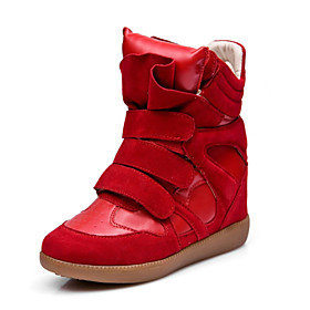 Faux Leather/Leather Wedge Heel Comfort Fashion Sneakers Casual Shoes(More Colors)