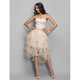 TS Couture Cocktail Party / Homecoming / Holiday Dress - Open Back Plus Size / Petite A-line / Princess Sweetheart AsymmetricalOrganza / Stretch plus size,  plus size fashion plus size appare