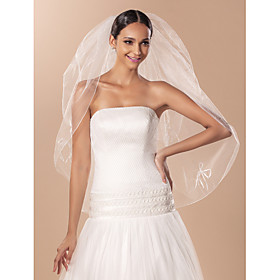 Two-tier Fingertip Wedding Veil With Pencil Edge And Bows