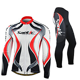 SANTIC Cycling Jersey with Tights Men's Long Sleeve BikeBreathable / Thermal / Warm / Windproof / Anatomic Design / Fleece Lining /