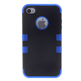 Special 2 I 1 Design Meget Beskyttende Sort Hard Case Med Solid Color Silikone Soft Case Til Iphone 4/4s (assorterede Farver)
